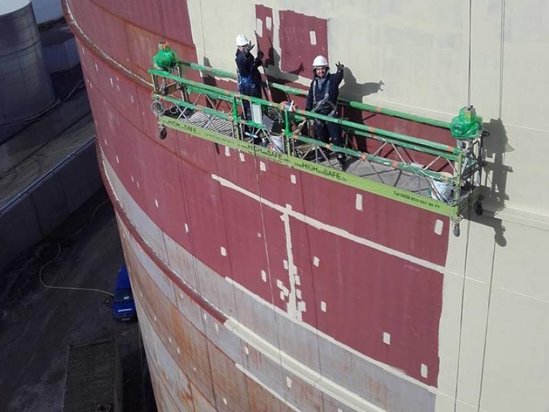 Blasting and painting of storage tanks